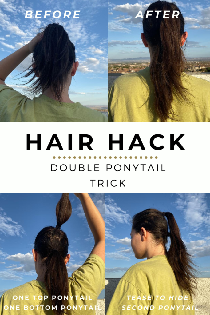 how to double ponytail trick