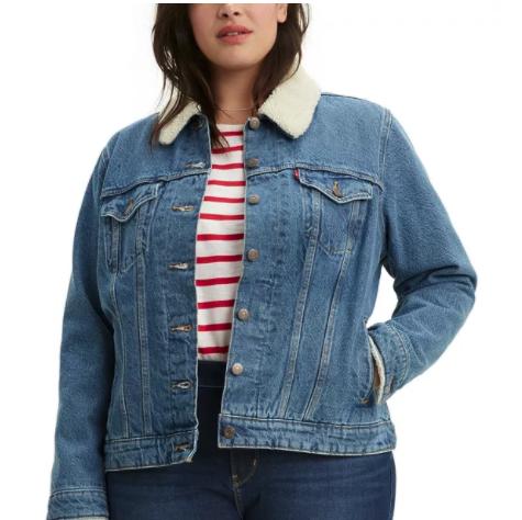 sherpa plus size jean jacket