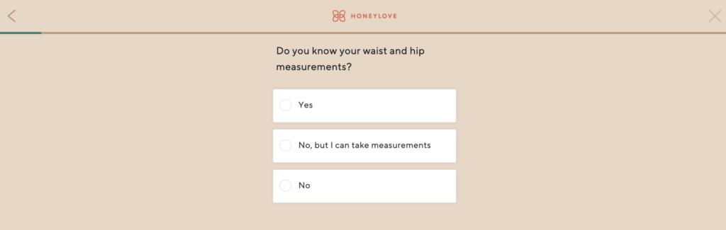 honeylove sizing quiz